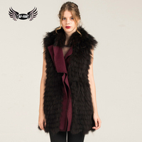 BFFUR Elegant Women's Double faced Fur Vest With Raccoon Dog Fur Collar Natural Sleeveless Jacket With Fur Strip Sewed Toghter