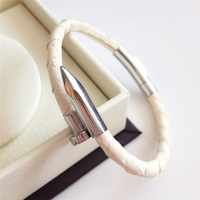 High Quality Python Leather Nail Bracelet Men Diy Leather Cord Customize Stainless Steel Love Cuff Nail