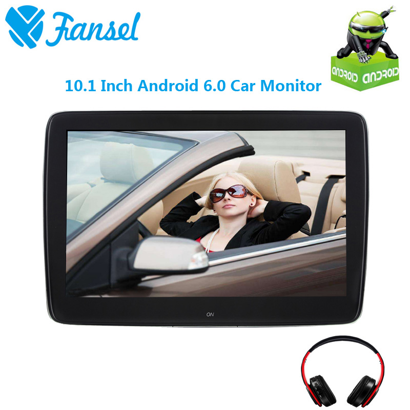 Fansel 10.1 Inch Android 6.0 Car Headrest Monitor IPS Touch Screen 1080P Video WIFI/USB/SD/Bluetooth/Speaker/FM Transmitter/Game
