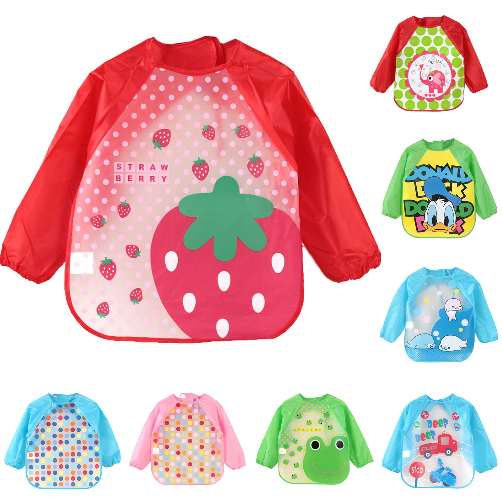 Cute Cartoon Animals Baby Bibs Waterproof Colorful Children Bib Full Sleeve Bibs Children Apron Long Sleeve Feeding Bibs(China)