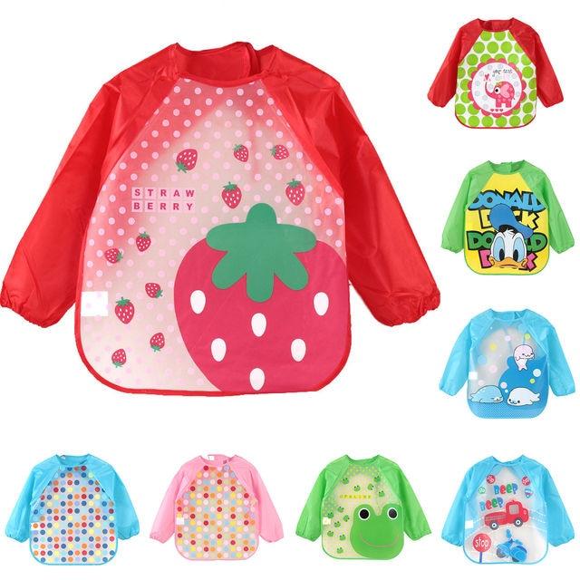 Baberos de bebé de animales de dibujos animados bonitos impermeables coloridos niños Baberos de manga completa niños delantal de manga larga Baberos de alimentación