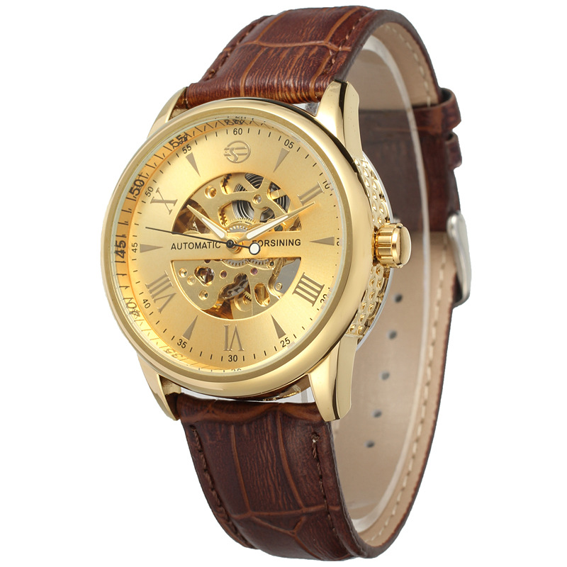 New Watches Men Luxury Top Brand Fashion Leather Strap Mechanical Wristwatches
