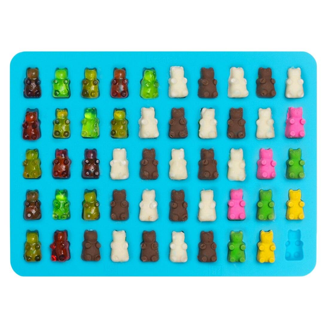 Fashion DIY Kitchen Tools Mold 1 Set 50 Cavity Silicone Gummy Bear ...