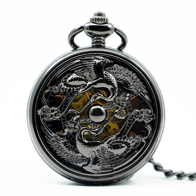 Top Band Vintage Mechanical Pocket Watch Hollow Double Crane Design White Dial Pendant Clock For Men Women PJX1214