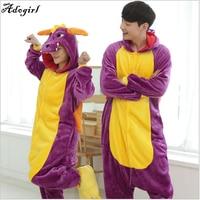 Adogirl 2017 Unicorn Stitch Giraffe Unisex Flannel Pajamas Adults Cosplay Cartoon Animal Onesies Sleepwear Hoodie For