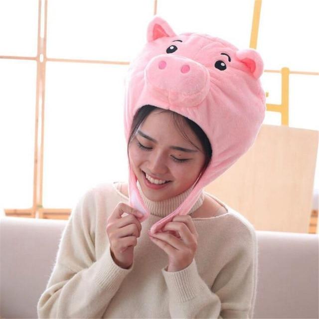 Плюшевая шапка Розовая свинка 2