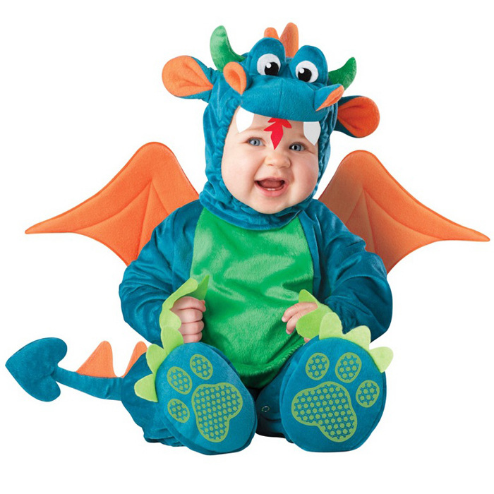 Christmas INS Baby Cartoon Animal Costume Boys Girls Dragon Lion Jumpsuit Romper Halloween Kids Clothing Cosplay Character Gift