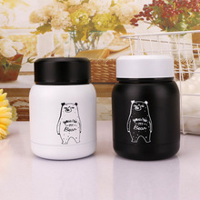 Cute Funny Bear Stainless Steel Thermos Mug Thermo Baby Child Feeding Cups Milk Hot Water Bottle Cartoon Bear Vacuum Cup For Kid 300ml baby feeding thermos cup cute dog vacuum milk cup with bells girl stainless steel insulated cup leak poof hot water bottle
