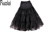 New Arrival Puffy A Line Black Ruffles Knee Length Petticoat Underskirt Crinoline For Wedding Dress Accessories