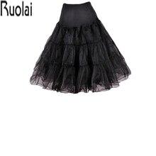 Nova chegada inchado uma linha preto babados na altura do joelho petticoat underskirt crinoline para acessórios de vestido de casamento