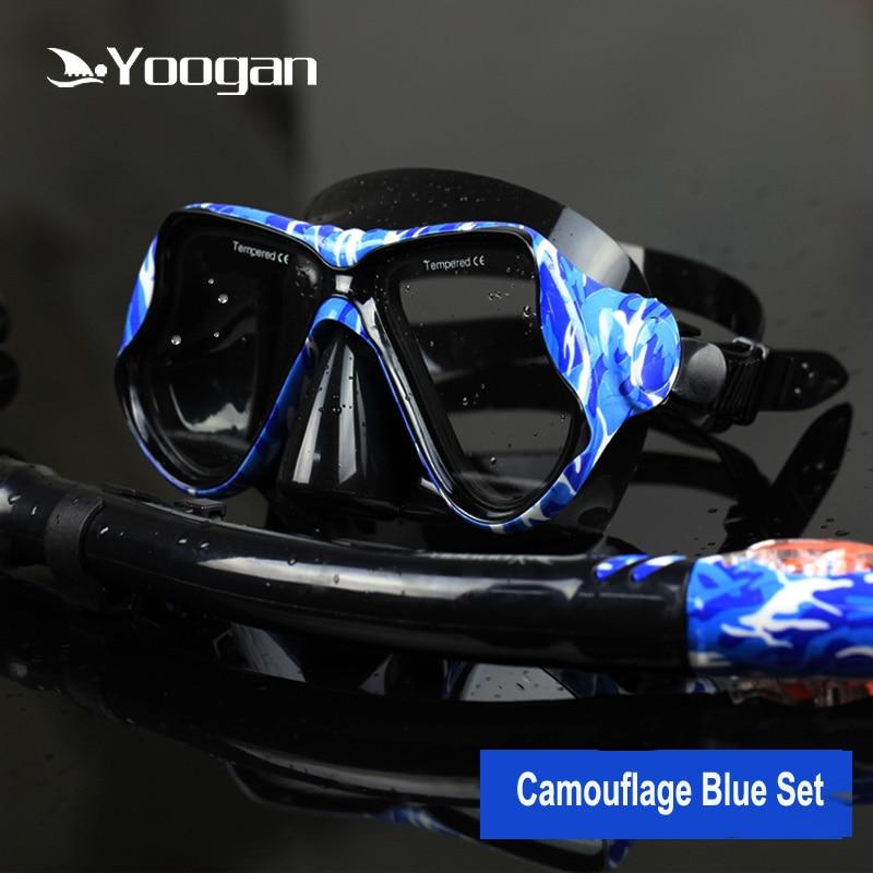 Yoogan optique plongée ensemble Silicone plongée masque tuba de plongée sec Date camouflage plongée tuba ensemble pour adultes de natation et plongée