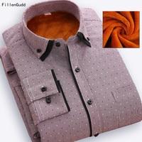 FillenGudd Designer Elegante gola Dupla Inverno Flanela Camisa de Vestido Social Homens Moda Camisas Casuais Camisas de Manga Longa Térmica
