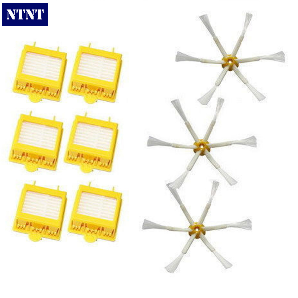 купить NTNT Free Post 6 Filter + 3 Side Brush 6 Armed For iRobot Roomba 700 Series 760 770 780 New дешево