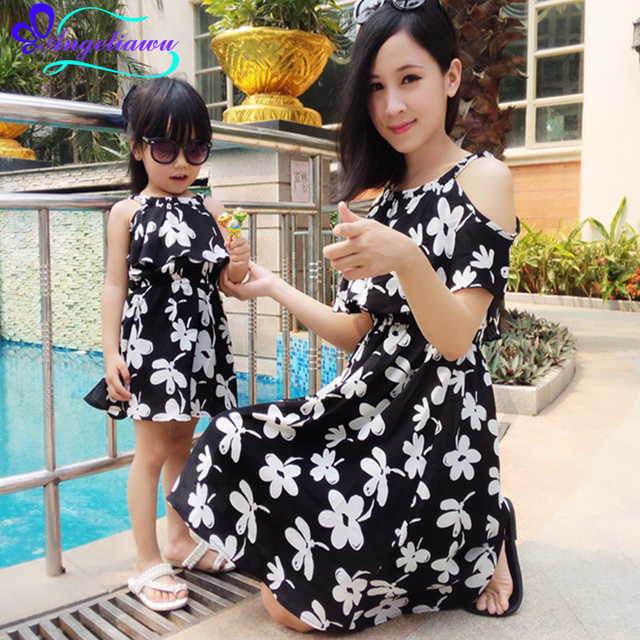 2017 Summer Beach Mother Daughter Matching Dresses Chiffon Mommy And Me Dress Sleeveless Flower Vestidos Mama