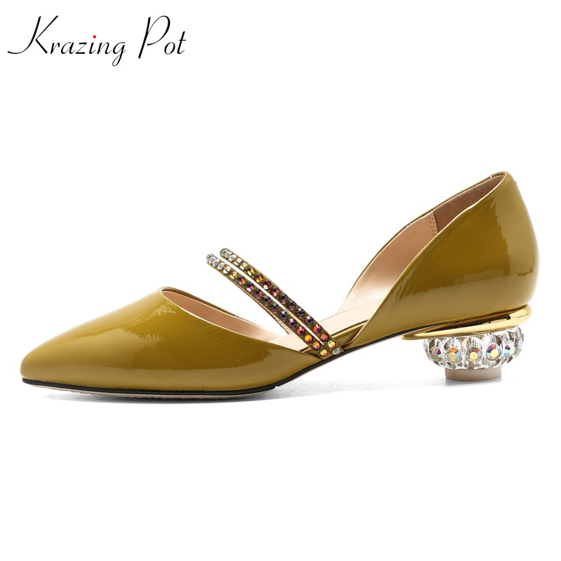 KRAZING POT 2018 vintage genuine leather streetwear crystal med heels women pumps shallow pointed toe high-end custom shoes L29 krazing pot fashion brand shoes genuine leather slip on pointed toe concise lazy style strange high heels women cozy pumps l73