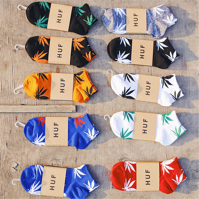1 Pair Men Socks Cotton Spring Summer and Autumn Weed Colorful Male Short Soft Breathable Wet Socks Maple Leaf Casual Socks