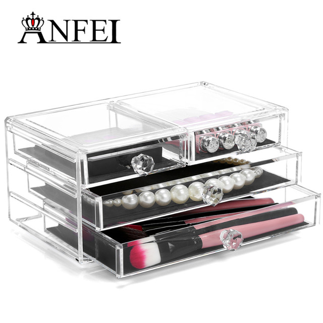 a73324fb7cb4 US $32.04 43% OFF| Large Acrylic Makeup Organizer With 2 Large and 2 Small  Drawers Boxes Lipstick & Eye Shadow Case Make Cosmetics Not Messy C173-in  ...