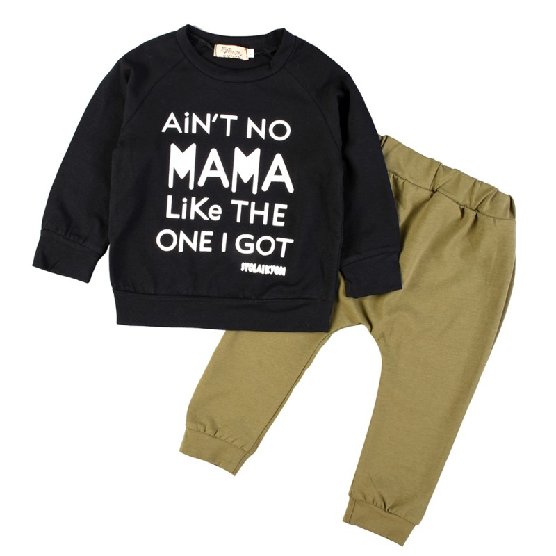 2pcs Sets Newborn Toddler Infant Kid Baby Boy Autumn Winter Clothes Letter Long Sleeve T-shirt Tee+Long Pants Outfits 0-3Y