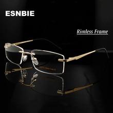 ESNBIE Alloy Gold MenS Rimless Eyeglasses Frame Men Women Myopia Optical Metal Square Eyewear Prescription Glass