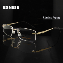 ESNBIE Alloy Gold Men'S Rimless Eyeglasses Frame Men Women M