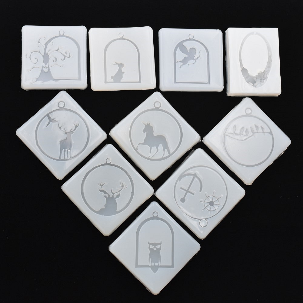 SNASAN 10PCS Silicone Mold For Jewelry Frame Animals Pendant Resin Silicone Mould  Handmade  Epoxy Resin Molds Muju Diaozhui 004