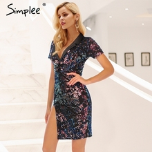 Simplee 2018 Elegant sexy sequin women dress Short sleeve side split club party bodycon dress Fashion