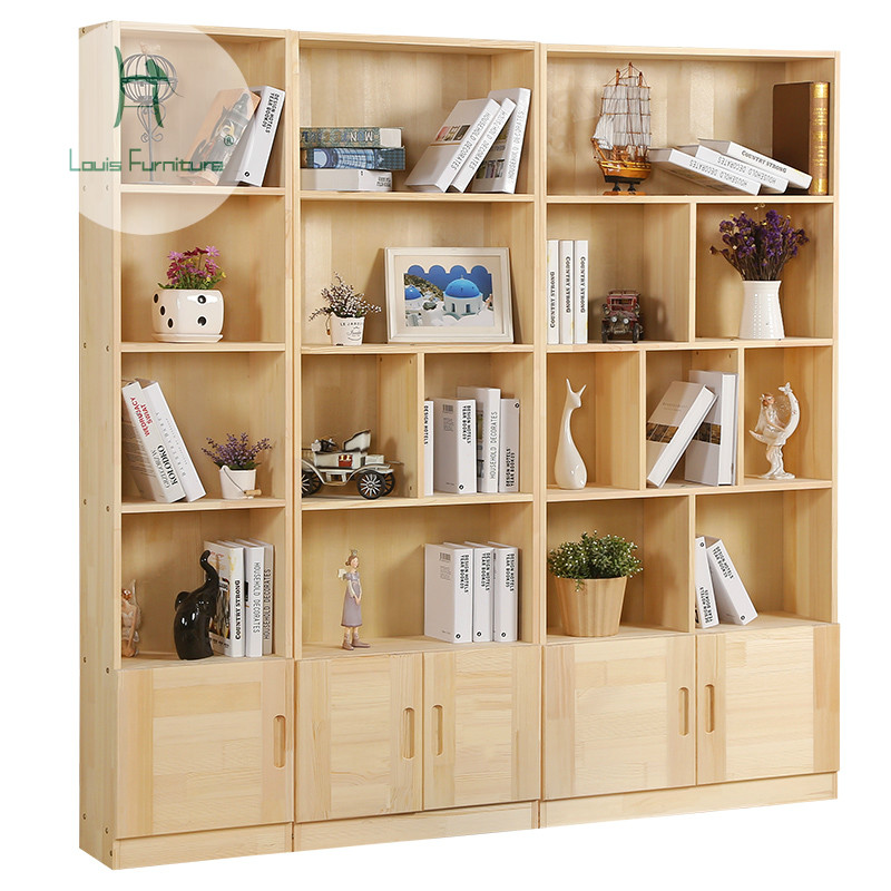 sneakers for cheap 7236c e3085 US $69.0 |Solid wood bookcase, bookshelf, door, modern simple, large  capacity storage cabinet, locker, free combination of pine bookcase.-in  Bookcases ...