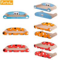 Petshy Cat Scratch Board Pad with Catnip Pet Corrugated Paper Post Cat Claws Care Toy Multifunction Comfortable Kitten Bed Mat