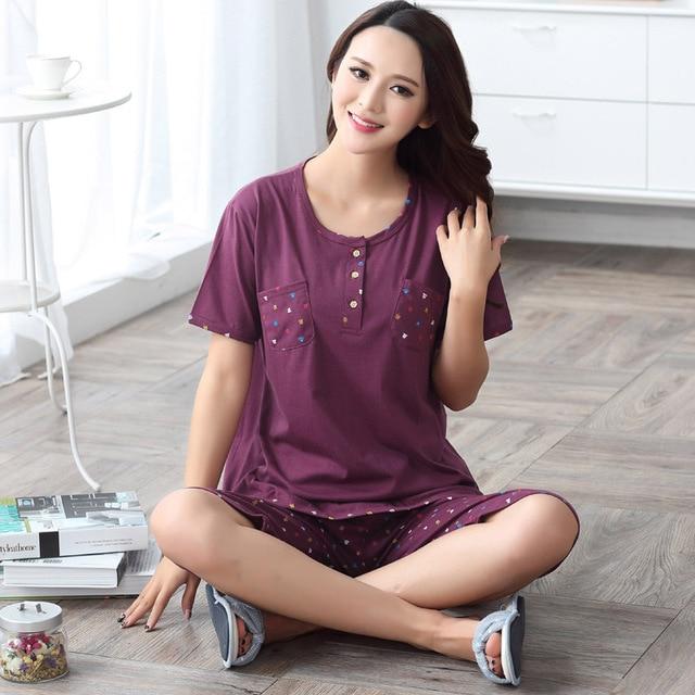 9ee8ebae9cbe Premium Women Pajamas Sets Short-sleeved Sleepwear Cotton Lingerie Cartoon  Calf-Length Pants Suit Nightdress Plus Size M- XXXXL