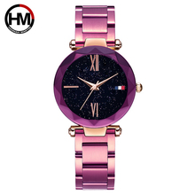 Hannah Martin Roxo Bayan Kol Saati Quartz Mulheres Relógios de Luxo À Prova D' Água Pulseira de Aço Inoxidável Relógio Feminino Reloj Mujer