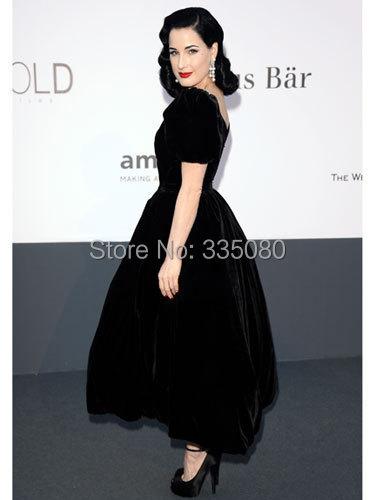 49afe7c9b0 CBD 091 DITA VON TEESE Aline V neck Formal Evening Gowns Dress Velvet Black  Ankle Length Cap Sleeves Celebrity Red Carpet Dress-in Celebrity-Inspired  ...