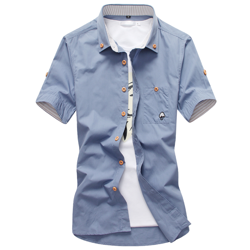 Sale Men Shirt Casual New 2018 Summer Autumn Short Sleeve Formal Chemise Homme Slim Fit Clothing Shirts Men M-5Xl