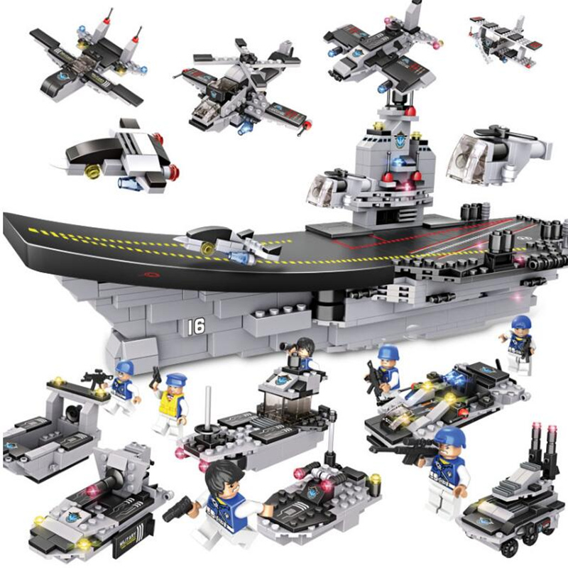 751PCS/Set Military Ship Liaoning Aircrafted Carrier 3D blocks Educational model 8 in 1 Building Construction Toys For Children