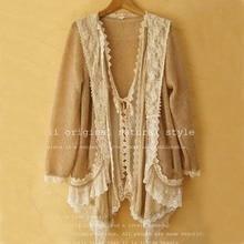 Cawaii Mori Fille Patchwork Lolita Chamarras Jaqueta Chaqueta Cardigan Vintage Crochet Automne Hiver Kimono Hippie Boho Manteau Veste