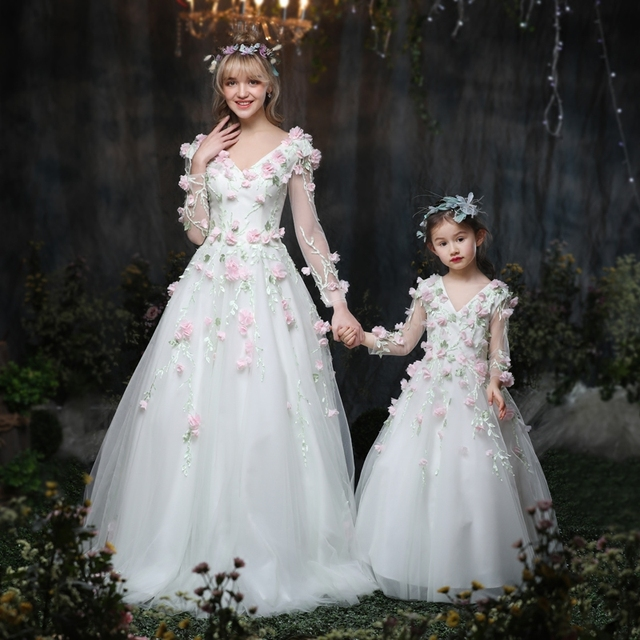 Mother Daughter Dresses Family Wedding White Princess Dress Ball
