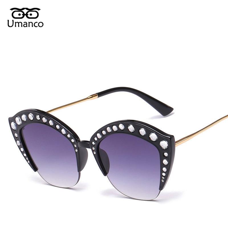 dbadf9a53 Umanco Moda Doces Cores Mulheres Gradiente Óculos de Sol Olho De Gato Com  Strass Grande Feminino Pernas de Metal Praia Óculos de Proteção UV400