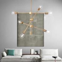 2/4/6 Arms Pendant Lamp Nordic Copper Painted Metal Lustre Led Chandelier Modern Hanging Chandelier For Living Dining Room