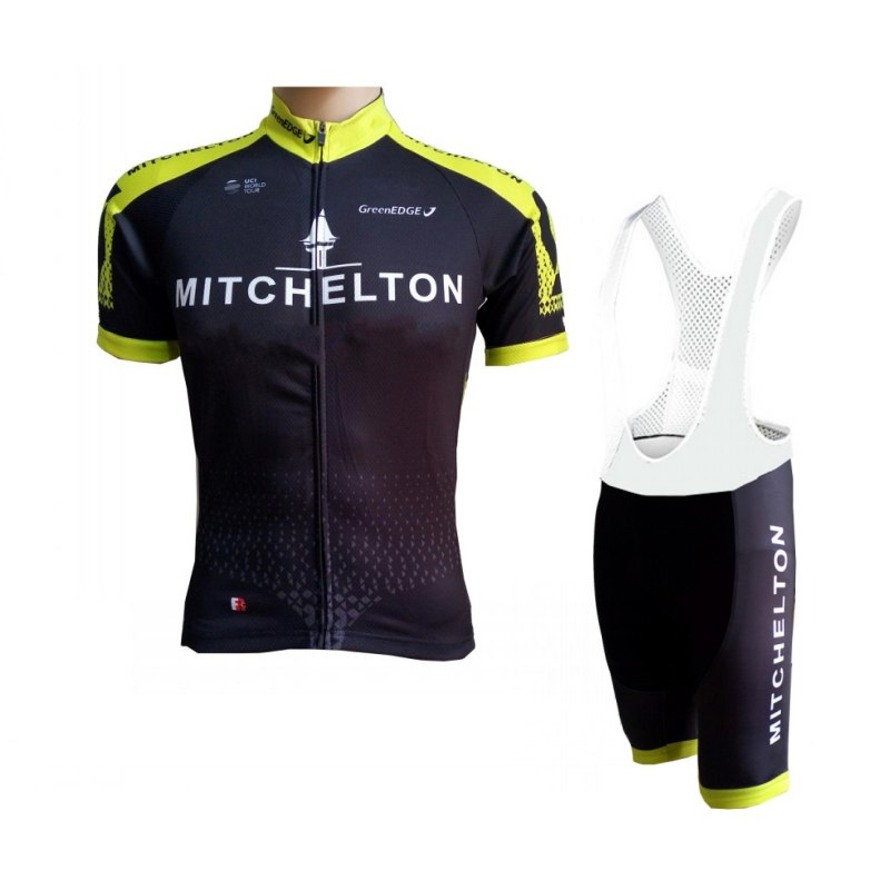 цена 2018 pro tour team mitchelton black yellow cycling jersey kits mens summer bike cloth MTB Ropa Ciclismo Bicycle maillot gel pad онлайн в 2017 году