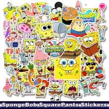50 pcs/pack dessin animé SpongeBob squarepantalon autocollant étanche pour téléphone portable voiture Moto ordinateur portable bagages vélo planche à roulettes décalque
