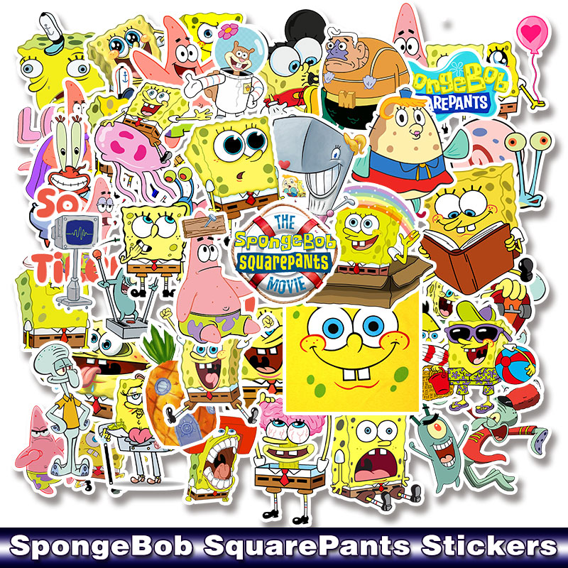 Image 1 - 50pcs/pack Cartoon SpongeBob SquarePants Sticker Waterproof For Mobile Phone Car Moto Laptop Luggage Bicycle Skateboard Decal-in Stickers from Toys & Hobbies