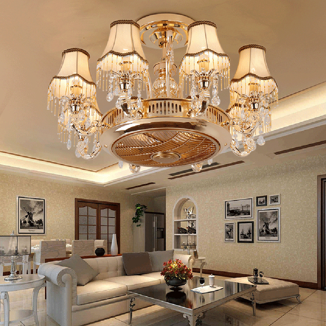 led e14 European Alloy Crystal Fabric Ceiling Fan LED Lamp.LED Light.Ceiling Lights.LED Ceiling Light.Ceiling Lamp For Foyer