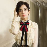 2017 Summer Hot Selling Factory Price Women S Sweet Bow Decoration Lantern Sleeve Ruffle Slim Shirt