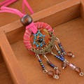 1PC Fuchsia Dreamcatcher Necklace Handmade Pendant Dream Catcher Korea Velvet Jewelry