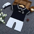 2017 Summer Baby Boy Sweet Baby Rompers Cute Design Jumpsuits Newborn Overalls Infant Toddler Kids Clothes Boys Romper with Hat