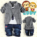 Spring Retail baby boys  clothing sets children handsome cartoon clothing sets baby boy jacket+shirt +jeans 3 pcs clothing set