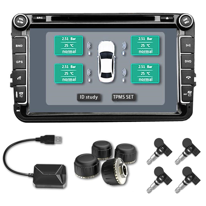 Car TMPS USB Tire Pressure Monitor System TPMS External Sensors for Android Car Navigation Display