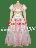Free Shipping Custom Tangled Beautiful Rapunzel Princess wedding Dress Costume Cosplay dress for party for christmas