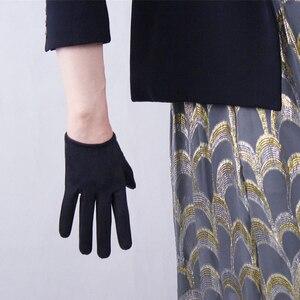 Image 4 - Guantes de ante de estilo corto para mujer, de 16cm mate guantes de piel de ante, manoplas de cuero de simulación para fiesta de baile, JP16