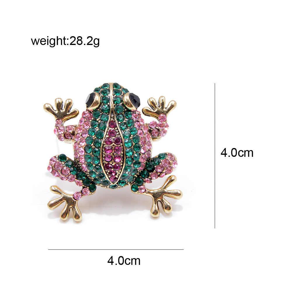 Muda Tulip Berwarna-warni Kristal Frog Bros untuk Wanita Fashion Berlian Imitasi Hewan Gaun Jarum Aksesori Kerajinan Lencana Perhiasan