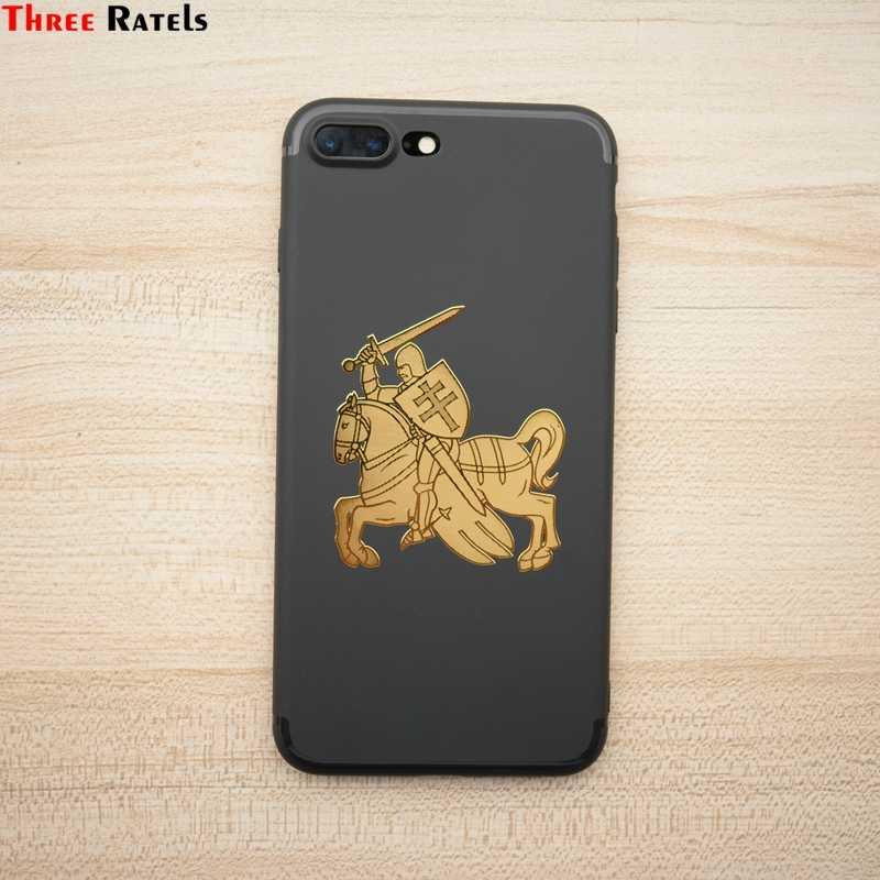 Three Ratels MT-054 #60*66,4 мм 1-2 шт. герб Литвы и Беларуси рыцарь с мечом и щитом и летающая лошадь металлические наклейки на авто телефон золотой никель стикер Авто наклейки ноутбук телефон